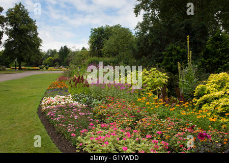 Valley Gardens, Harrogate, Yorkshire, England - beautiful park with bright, colourful, mixed planting on the herbaceous - Stock Photo