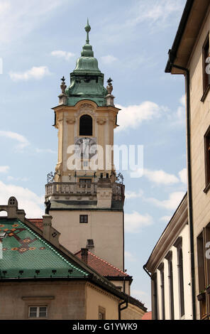 Clock Tower of the Old Town Hall in Bratislava - Stock Photo