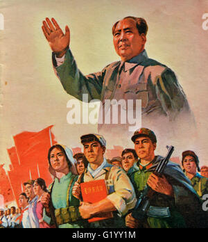 A propaganda poster during the Cultural Revolution in China. - Stock Photo