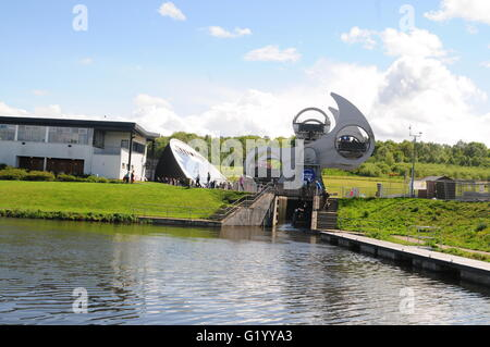 Falkirk wheel and visitor center Falkirk Central Scotland - Stock Photo