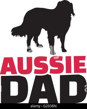 Australian Shepherd dad with dog silhouette - Stock Photo
