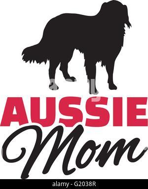Australian Shepherd Mom with dog silhouette - Stock Photo