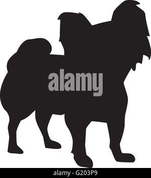 Papillon dog sihouette - Stock Photo