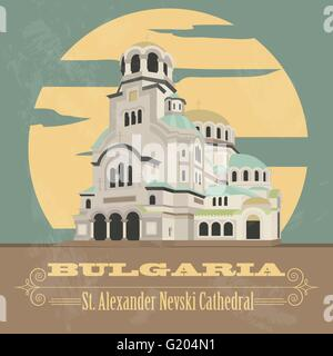 Bulgaria landmarks. Retro styled image. Vector illustration - Stock Photo