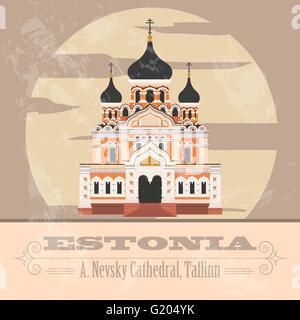Estonia landmarks. Retro styled image. Vector illustration - Stock Photo