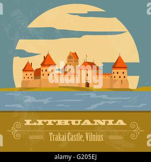 Lithuania landmarks. Retro styled image. Vector illustration - Stock Photo