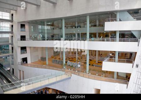 Interior of the Royal Library in the Black Diamond, Den Sorte Diamant, Copenhagen. The main glass facade to the - Stock Photo