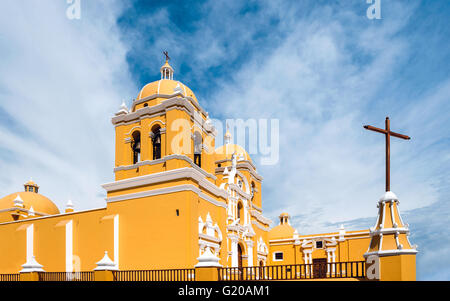 Colonial church in Trujillo, a wonderful city with colorful colonial buildings in Northern Peru - Stock Photo