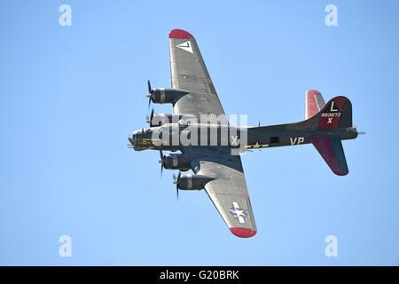 Saint Louis, MO, USA – May 15, 2016: B-17 Fortress flying at the Spirit of Saint Louis air show in Saint Louis, - Stock Photo