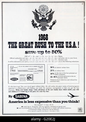1960s magazine advertisement advertising American holidays in the USA by Sabena Airlines. - Stock Photo