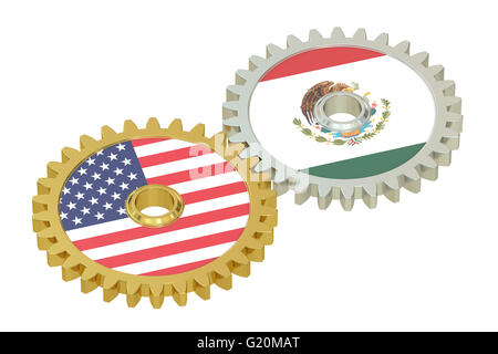 Mexico and United States relations concept, flags on a gears. 3D rendering isolated on white background - Stock Photo