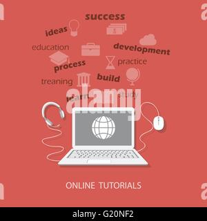 Flat design modern vector illustration concept of online business education, tutorials, learning with laptop, mouse - Stock Photo