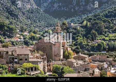 Valldemossa village and his Royal Carthusian Monastery (Real Cartuja), Majorca, Spain - Stock Photo