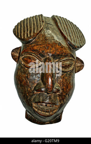 African Mask Wood Caved And Hand Made Old From West Africa Area Ghana
