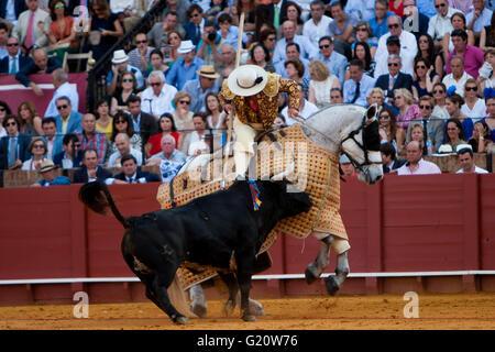 Tercio de picadores during a bullfight of the 'Feria de Abril' celebrated at Real Maestranza de Sevilla bullring - Stock Photo