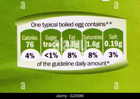gda information, guideline daily amount, on carton of 6 British medium free range eggs - Stock Photo