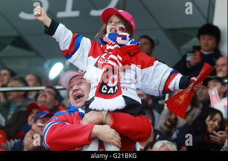 Moscow, Russia. 22nd May, 2016. Russia's fans rooting for their team in the 2016 IIHF World Championship bronze - Stock Photo