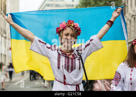 London, UK. 22nd May, 2016. Ukrainian Vyshyvanka Annual March for Peace through central London  Credit:  Guy Corbishley/Alamy - Stock Photo