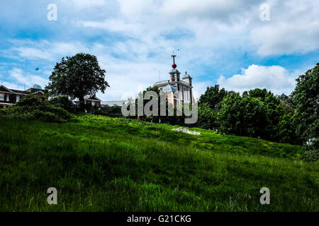 London, UK. 22nd May, 2016. View of the Royal Observatory, Greenwich. Heavy rain and thunder expected this evening - Stock Photo