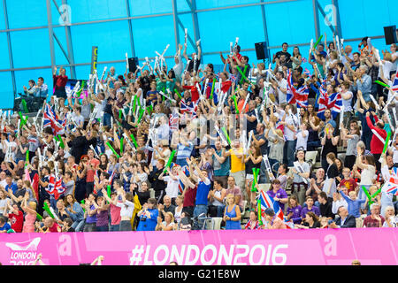 Aquatics Centre, London, UK, 22nd May 2016. European Swimming Championships. Men's4x100m Medley - British supporters - Stock Photo