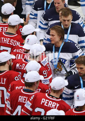 Moscow, Russia. 22nd May, 2016. Canada's and Finland's players seen after their 2016 IIHF World Championship final - Stock Photo