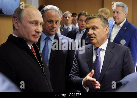 Russia's President Vladimir Putin, Russia's Sports Minister and Rene Fasel (L-R), president of the International - Stock Photo