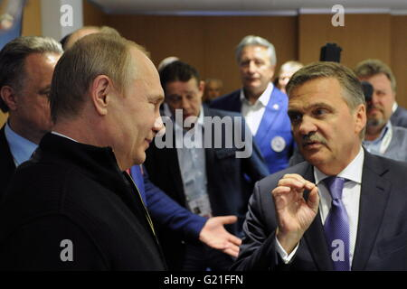 Russia's President Vladimir Putin and Rene Fasel (L-R front), president of the International Ice Hockey Federation - Stock Photo