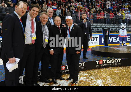 Russia's President Vladimir Putin (4th L front) and Rene Fasel (R), president of the International Ice Hockey Federation - Stock Photo