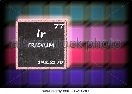 Iridium  - details from the periodic table - Stock Photo