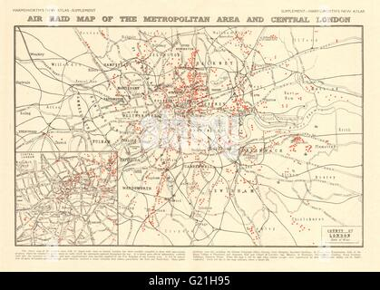 First World War 'Air Raid map of the Metropolitan Area and Central London' 1920 - Stock Photo