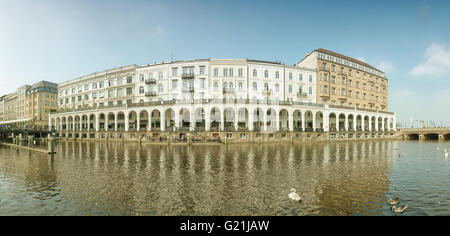 Panorama of the Alster Arcades on the Inner Alster lake, Hamburg, Germany - Stock Photo