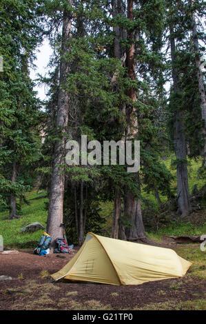 Campsite, Chicago Basin, Columbine Pass Trail, Weminuche Wilderness Area, San Juan National Forest, Colorado. - Stock Photo