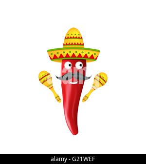 Mexican Symbols, Red Chili Pepper, Sombrero Hat, Musical Maracas, Mustache - Stock Photo