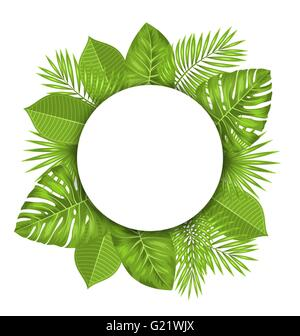 Clean Card with Text Space and Green Tropical Leaves - Stock Photo