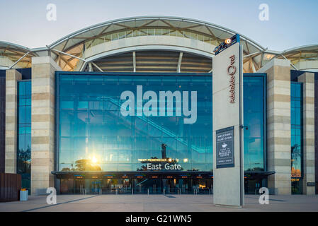 Adelaide, Australia - January 3, 2016: Adelaide Oval stadium skyline viewed from the East Gate side on the summer - Stock Photo