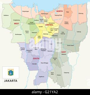 jakarta administrative map with flag - Stock Photo