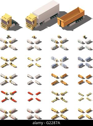 Vector isometric trucks with semi-trailers icon set - Stock Photo