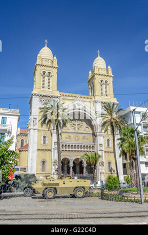 roadblock in front of catholic cathedral downtown tunis / tunisia - Stock Photo