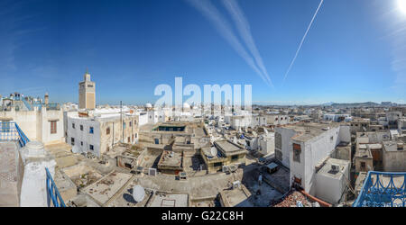 aerial view of Tunis Medina with the high minaret of the Great Mosque, Tunisia. - Stock Photo