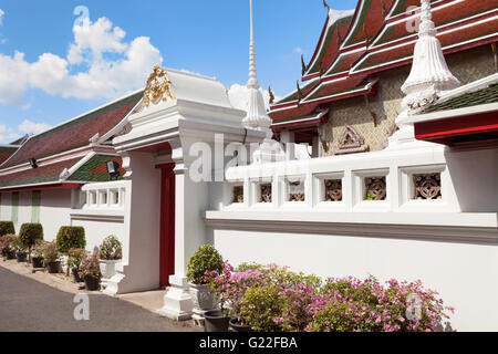 Thai Temple Wall In Bangkok Thailand - Stock Photo