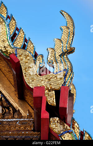 Thai Temple Roof Ornament Bangkok Thailand - Stock Photo