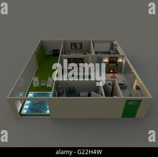 3d interior rendering oblique view of furnished roofless paper model home apartment by night - Stock Photo