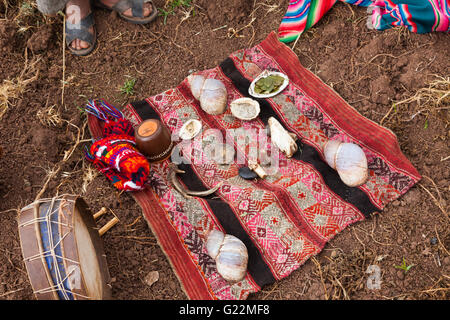 Ceremonial blanket for the ritual to thank Pachamama for a good harvest - Stock Photo