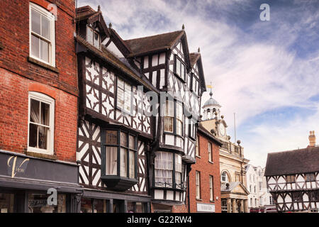 Medieval buildings in Ludlow town centre, Shropshire, England, UK - Stock Photo