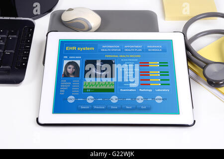 Electronic medical record show patient's health information on tablet. - Stock Photo