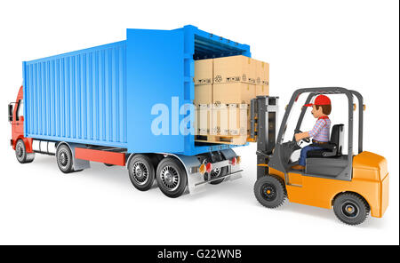 3d working people illustration. Worker driving a forklift loading a container truck. Isolated white background. - Stock Photo