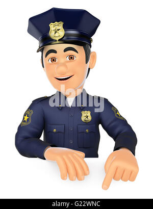 3d security forces people illustration. Policeman pointing down. Blank space. Isolated white background. - Stock Photo