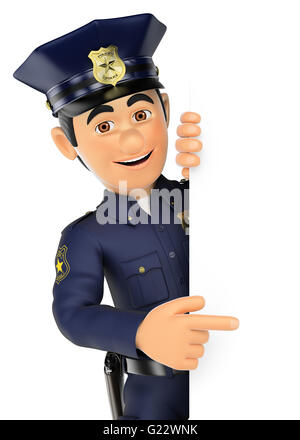 3d security forces people illustration. Policeman pointing aside. Blank space. Isolated white background. - Stock Photo