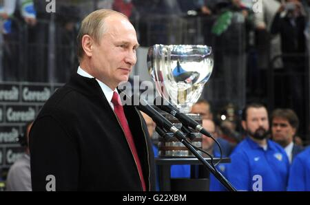 Moscow, Russia. 22nd May, 2016. Russian President Vladimir Putin during the award ceremony for the Ice Hockey World - Stock Photo