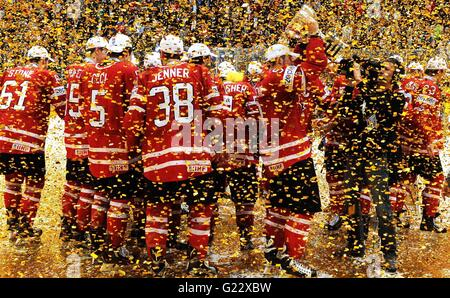 Moscow, Russia. 22nd May, 2016. The Canadian team celebrates winning the gold medal at the Ice Hockey World Championships - Stock Photo